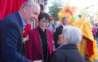 NPTGS Multiculturalism Director Lily Chow met Premier John Horgan at a monument unveiling ceremony in Victoria on September 10.
